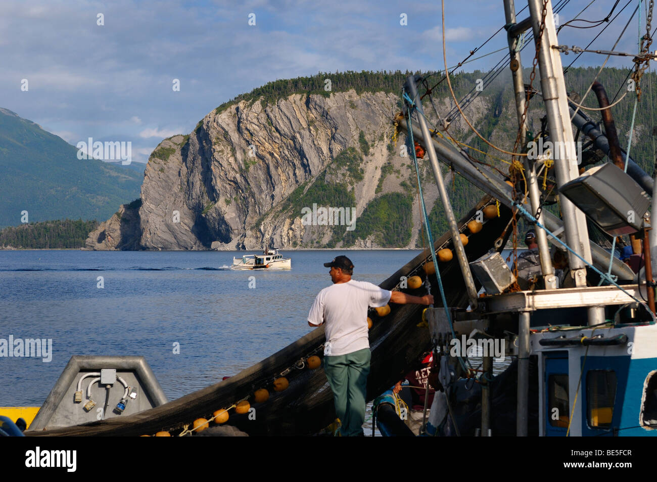 Fishermen hauling in net on East Arm Bonne Bay at Norris Point at the end of the day with Shag Cliff at Gros Morne - Stock Image