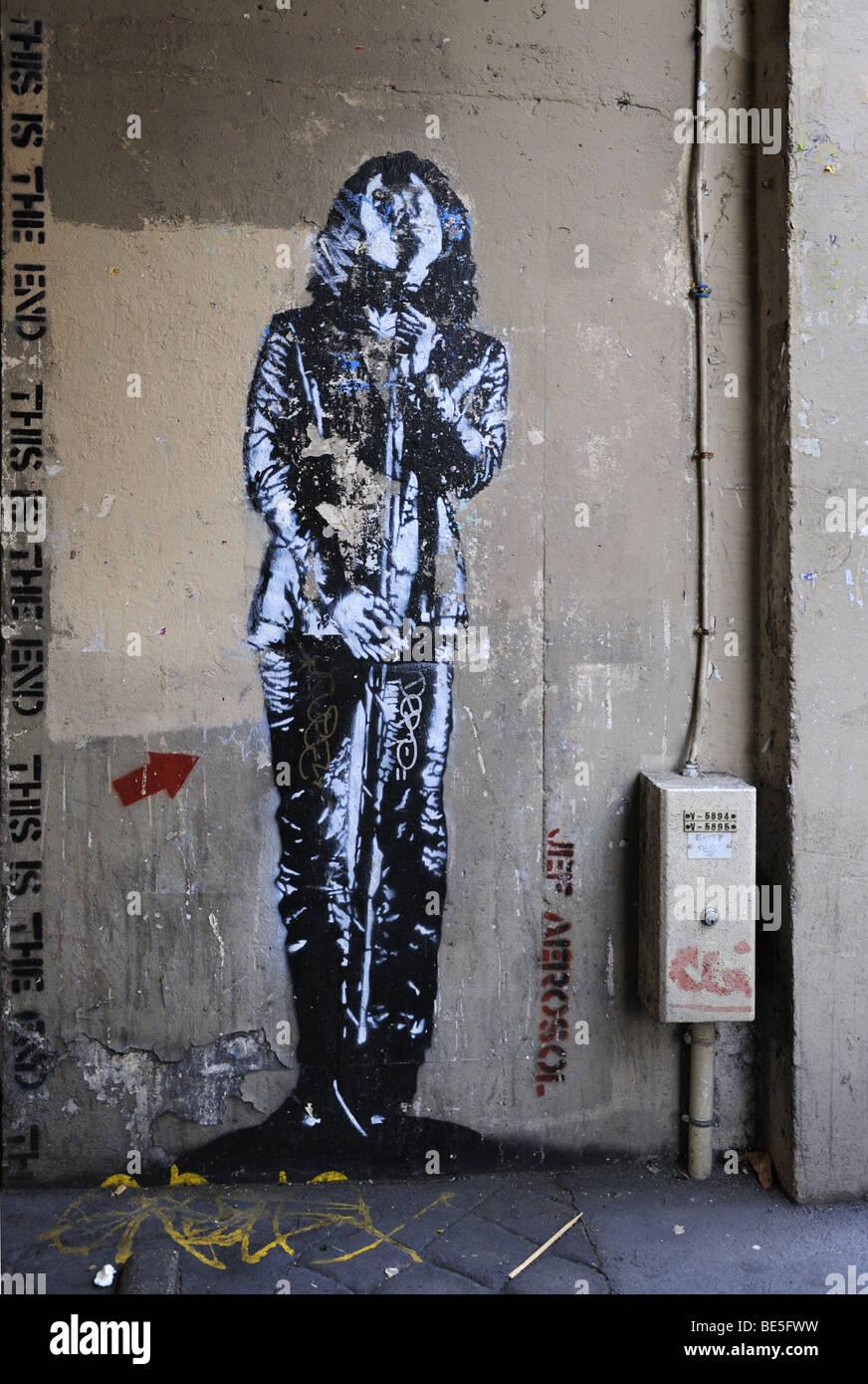 Wall painting of Jim Morrison of the Doors, Jardin des Plantes Quarter, Paris - Stock Image