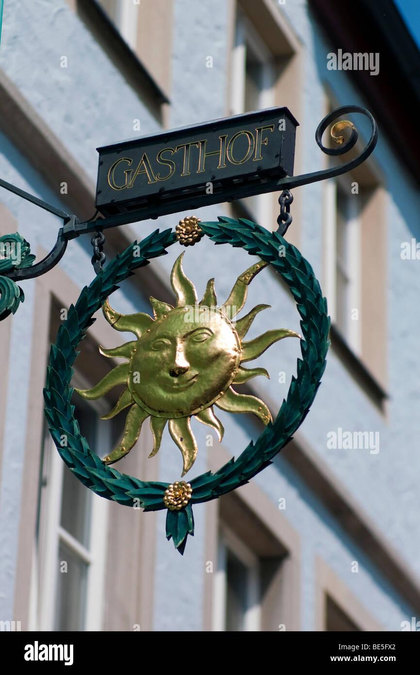 Inn sign, Rothenburg ob der Tauber, Bavaria, Germany, Europe - Stock Image