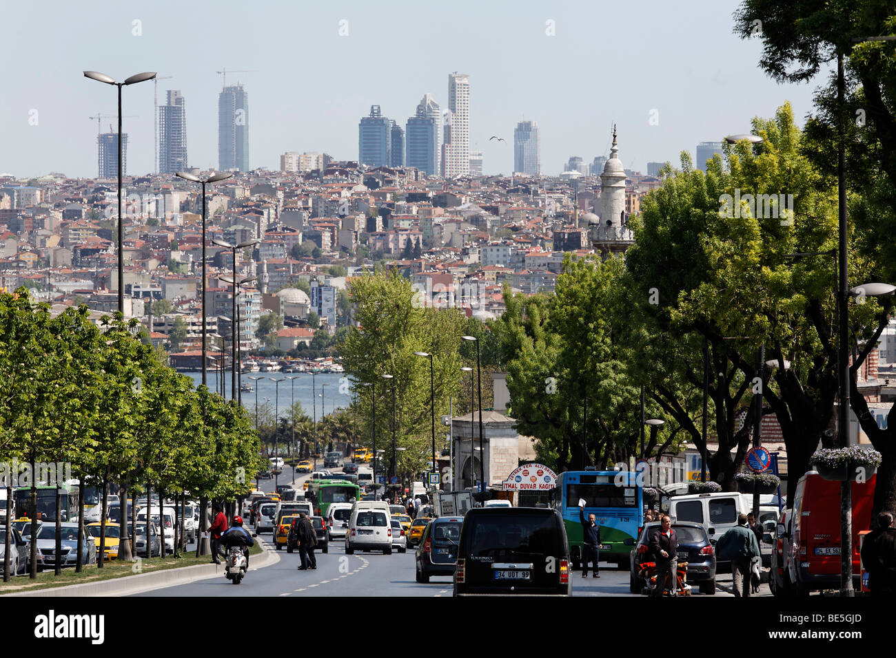 Overlooking the Ataturk Bulvari on Golden Horn and skyline with modern high-rise buildings, Istanbul, Turkey - Stock Image