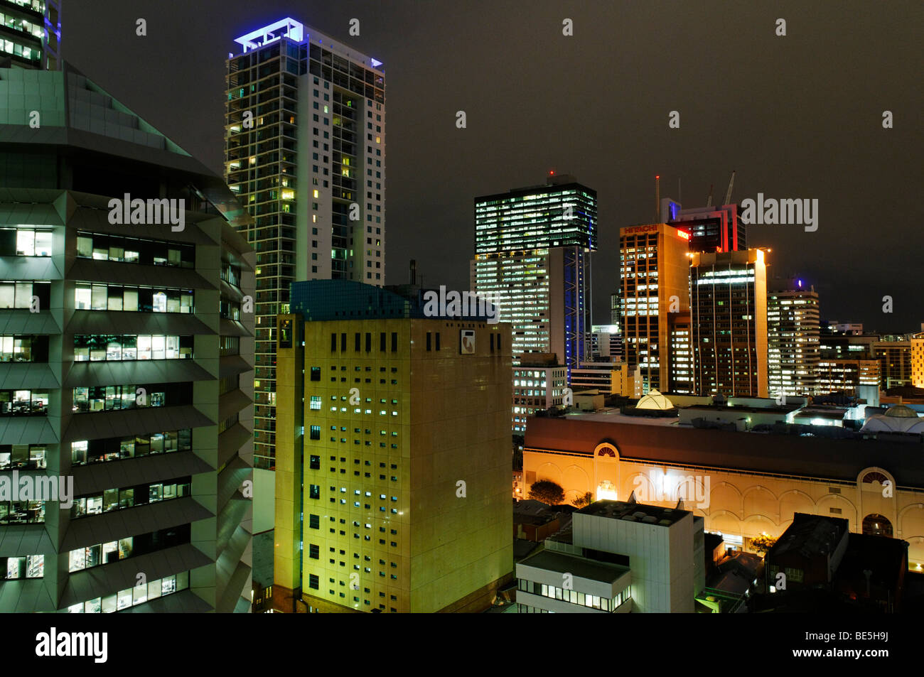 Skyscrapers and historic buildings in downtown Brisbane, Queensland, Australia - Stock Image