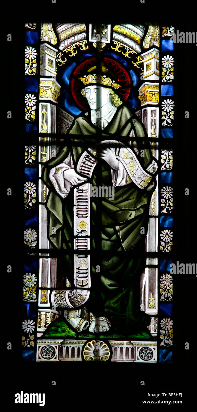 A Stained Glass Window Depicting the Prophet Ezekiel, Brant Broughton Church, Lincolnshire - Stock Image