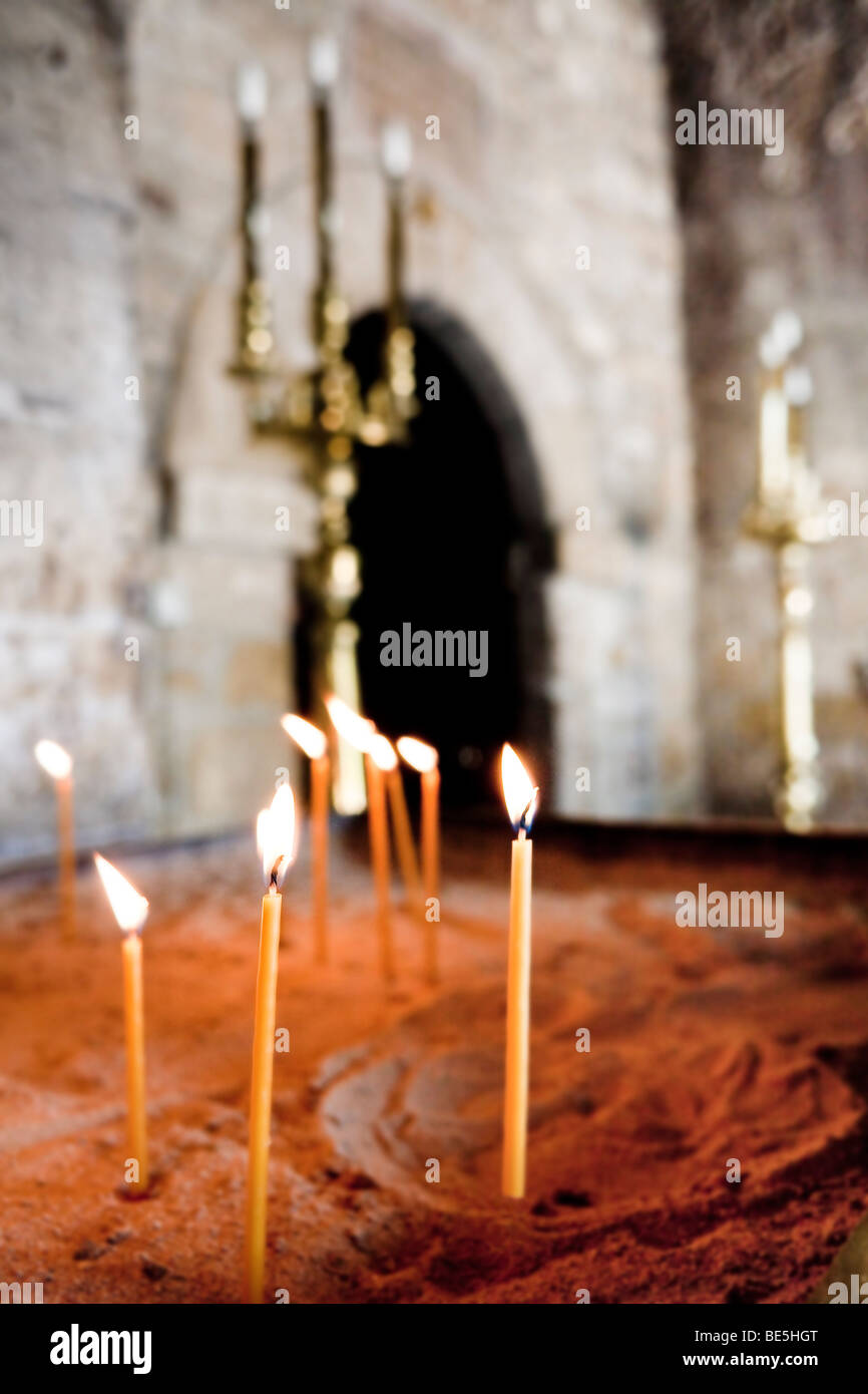 Sacrificial candles in the church of Panagia Angeloktistos, built from the angels, UNESCO World Heritage Site, Kiti, Stock Photo