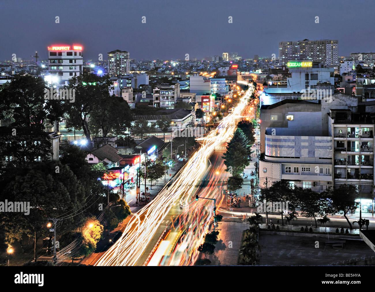 Busy road, arterial road at night, Ho Chi Minh City, Saigon, Vietnam, Asia - Stock Image