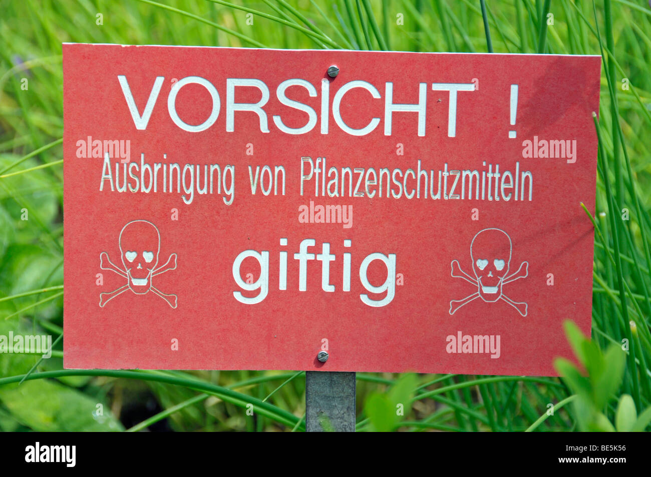 Warning sign, plant protection has been sprayed, toxic, Germany, Europe - Stock Image