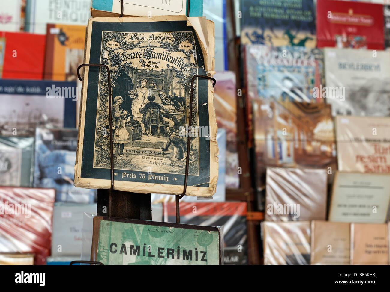 Antiquarian German magazine from the 19th Century, Schorer family sheet, displayed in book Bazaar, Beyazit Square, Stock Photo
