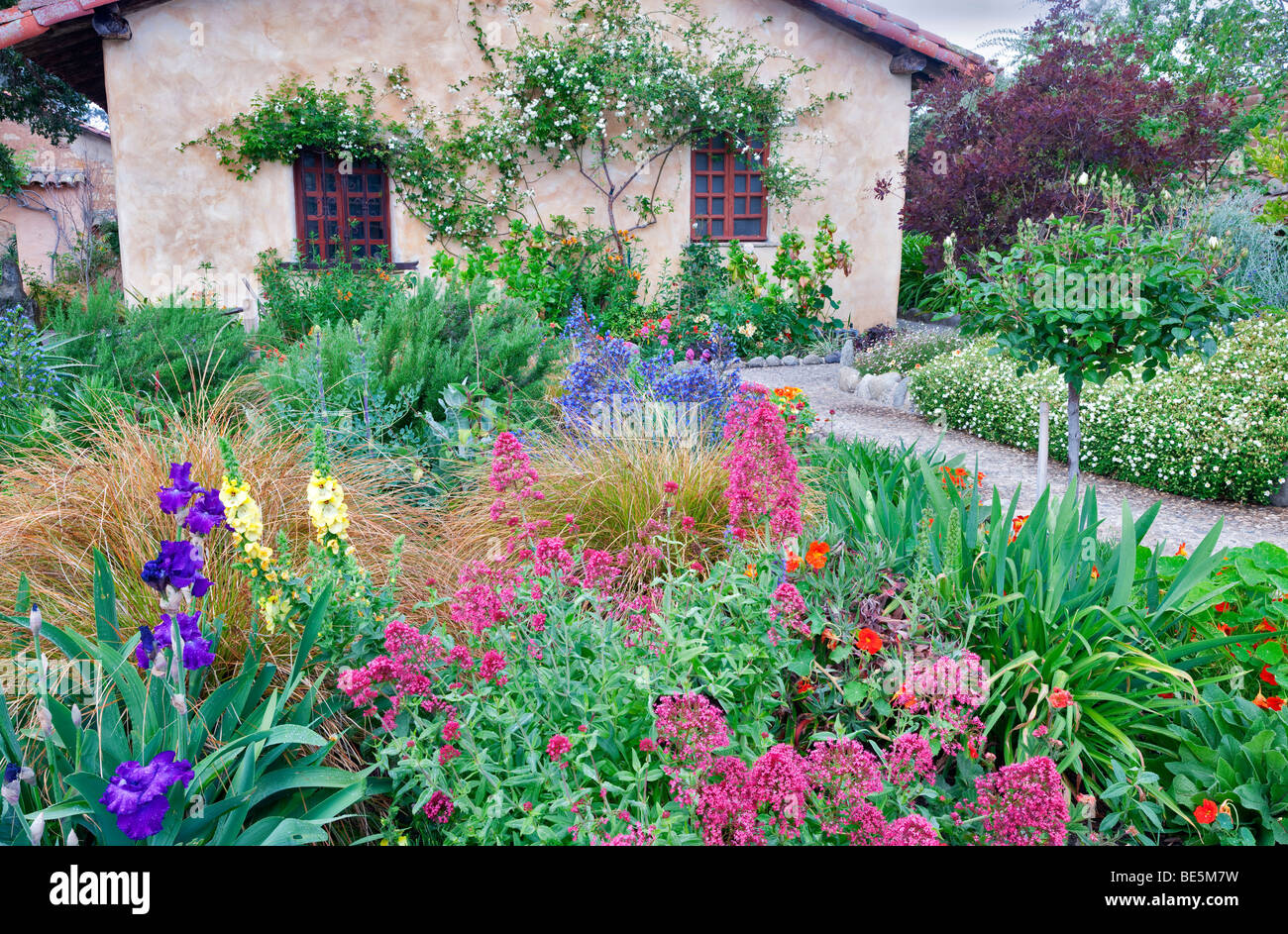 Gardens at the Carmel Mission. Carmel by the Sea, California. - Stock Image