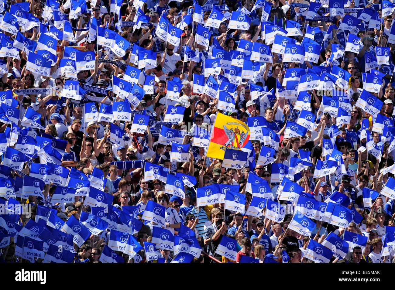 Karlsruher SC fan block with Baden flag, Wildpark Stadium Karlsruhe, Baden-Wuerttemberg, Germany, Europe Stock Photo