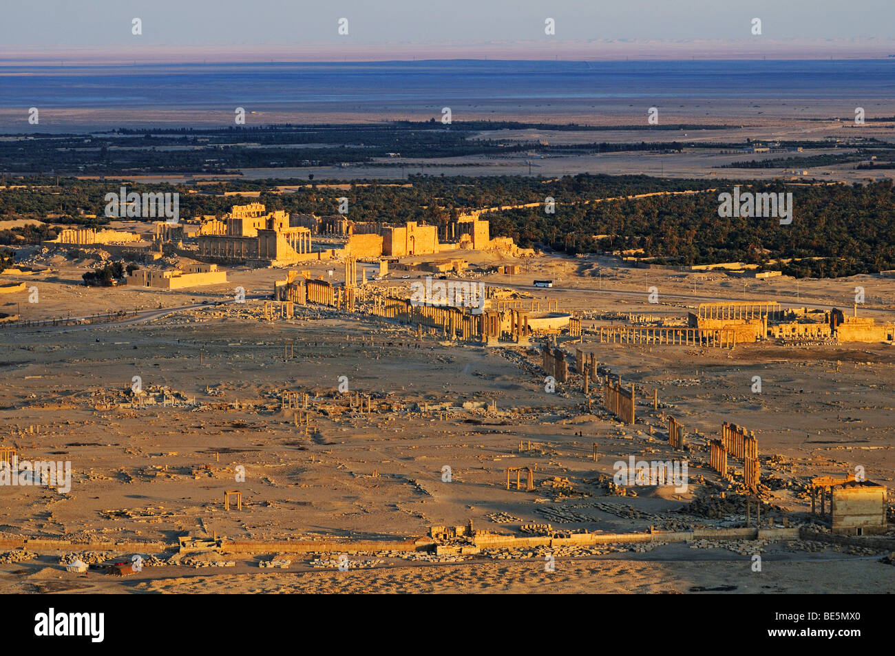 View from the castle Qala'at Ibn Ma'n on the ruins of the Palmyra archeological site, Tadmur, Syria, Asia - Stock Image