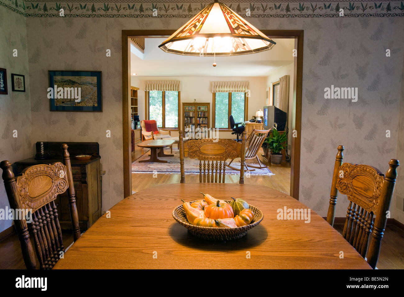 Interior view of the dining room in an upscale suburban home. - Stock Image
