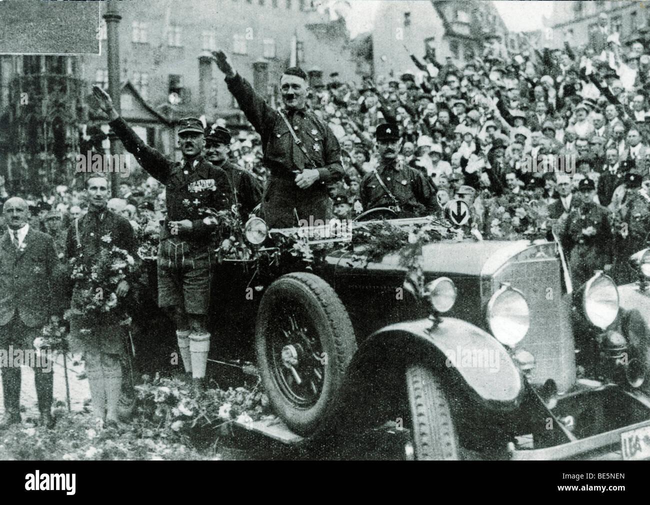 Parade with Adolf Hitler, left of Hitler Rudolf Hess, Hauptmann von Pfeffer and Julius Streicher, Nuremberg, Bavaria, - Stock Image