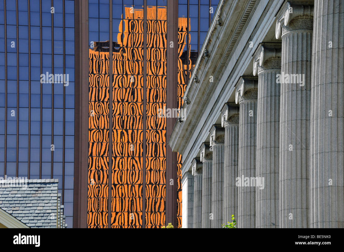 Architectural styles at The Temple Square, Salt Lake City, Utah, United States of America - Stock Image