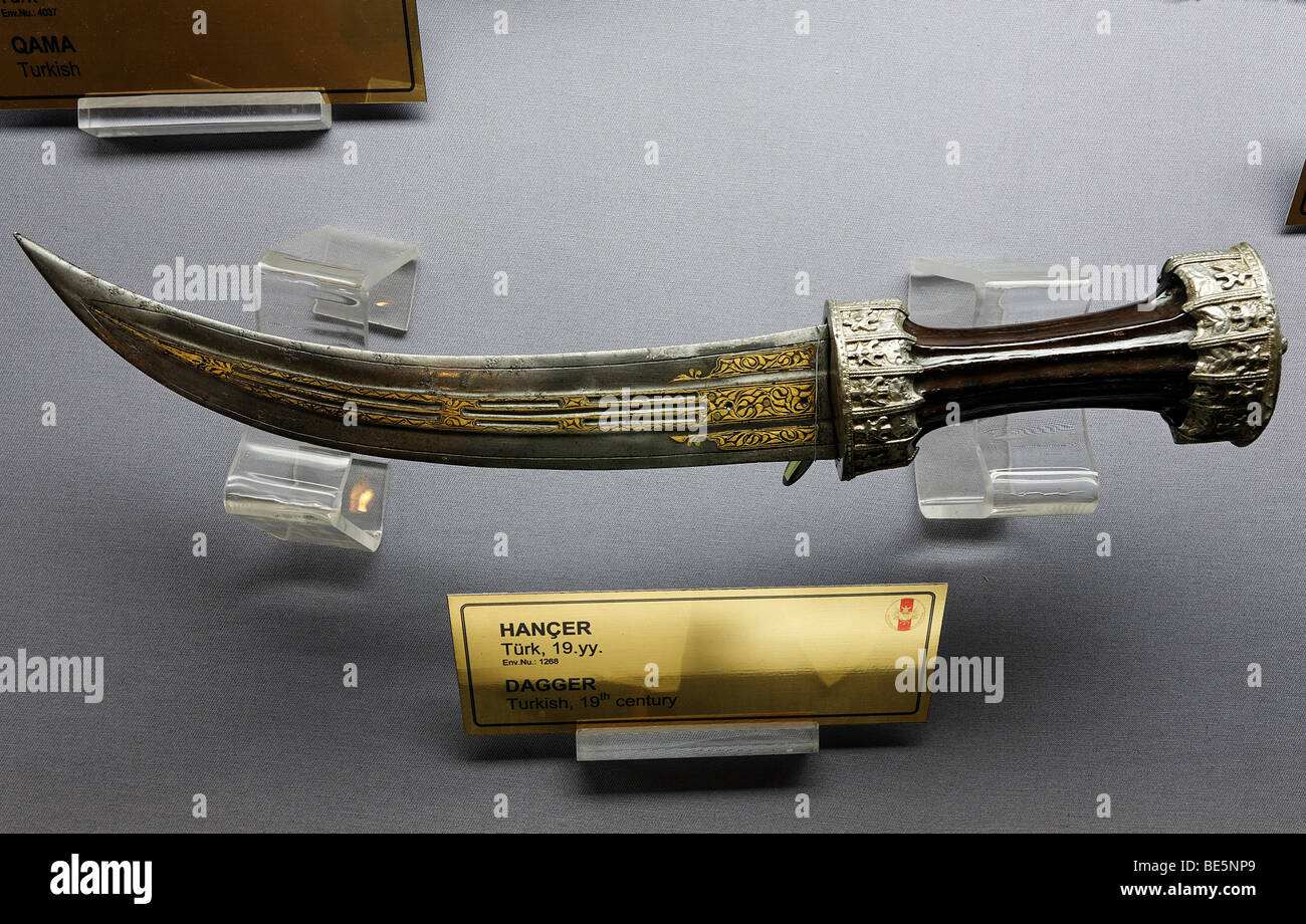 Krummer, Turkish dagger from the 19th Century, Military Museum, Askeri Mues, Osmanbey, Istanbul, Turkey - Stock Image