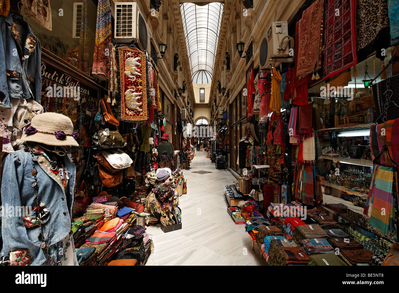Shops in the historic Avrupa Passage shopping arcade, Istiklal Caddesi, Independence Street, Beyoglu, Istanbul, - Stock Image