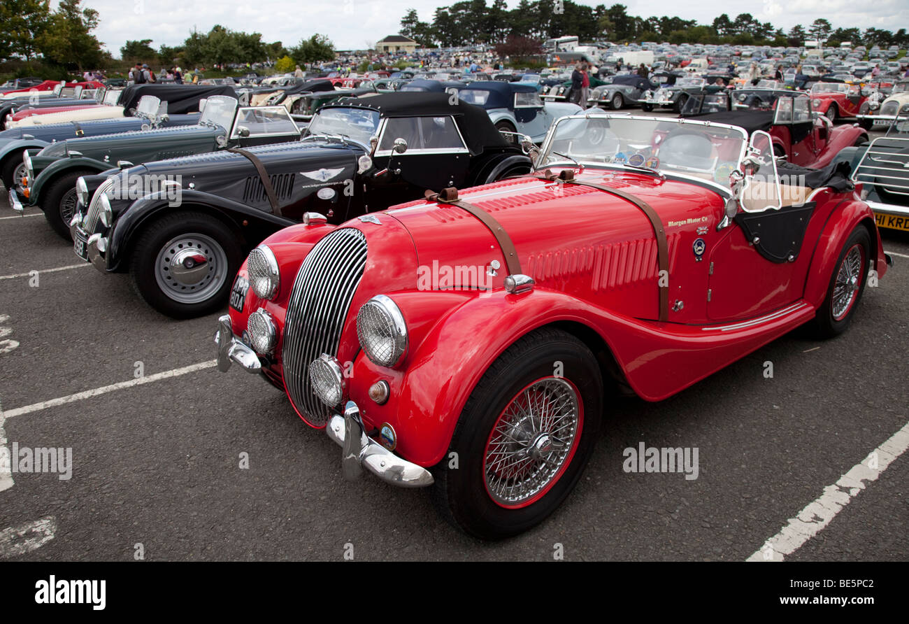 Line up of Morgan two seater sports casr at centenary celebrations - Stock Image