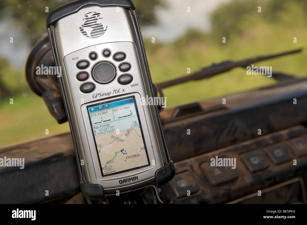 A GPS mounted on the windscreen of a Land Rover in Uganda. - Stock Image