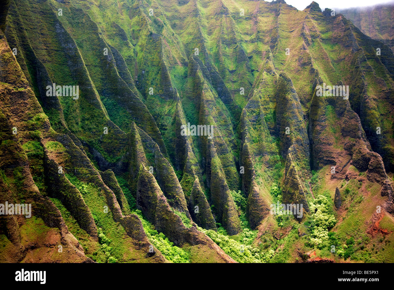 Na Pali coastline from the air. Kauai, Hawaii. - Stock Image