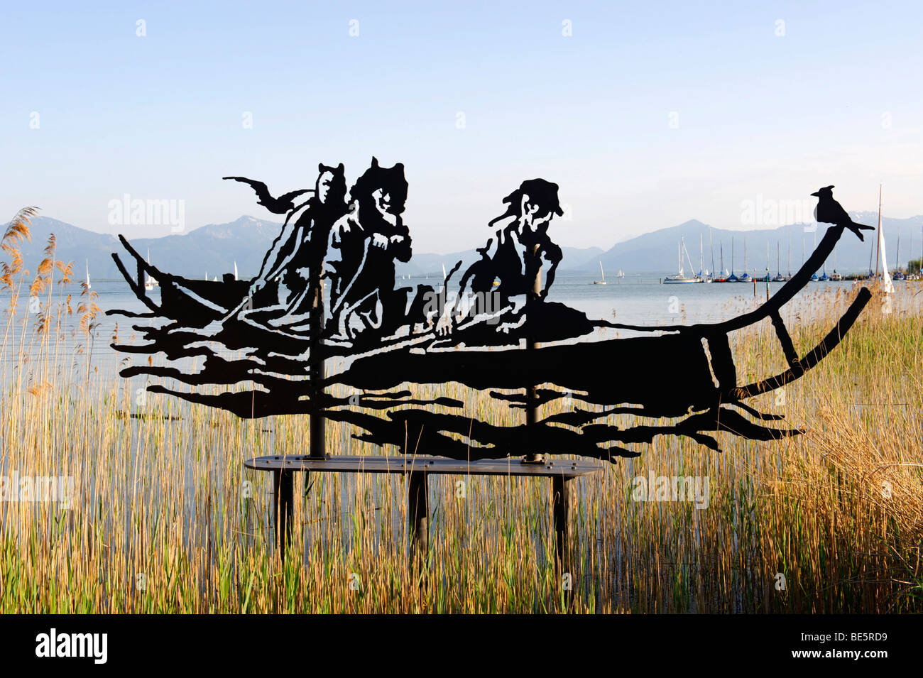 Celtic boat, sculptur by W. A. Angerer, Angerer the Younger, Seebruck on the Chiemsee lake, Upper Bavaria, Germany, - Stock Image