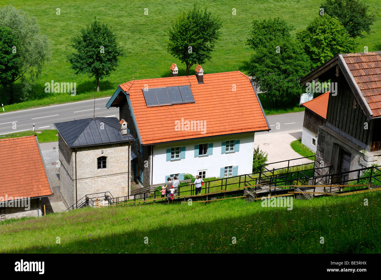 Pumping station Klaushaeusl of the historic brine pipe line near Grassau, Upper Bavaria, Germany, Europe - Stock Image