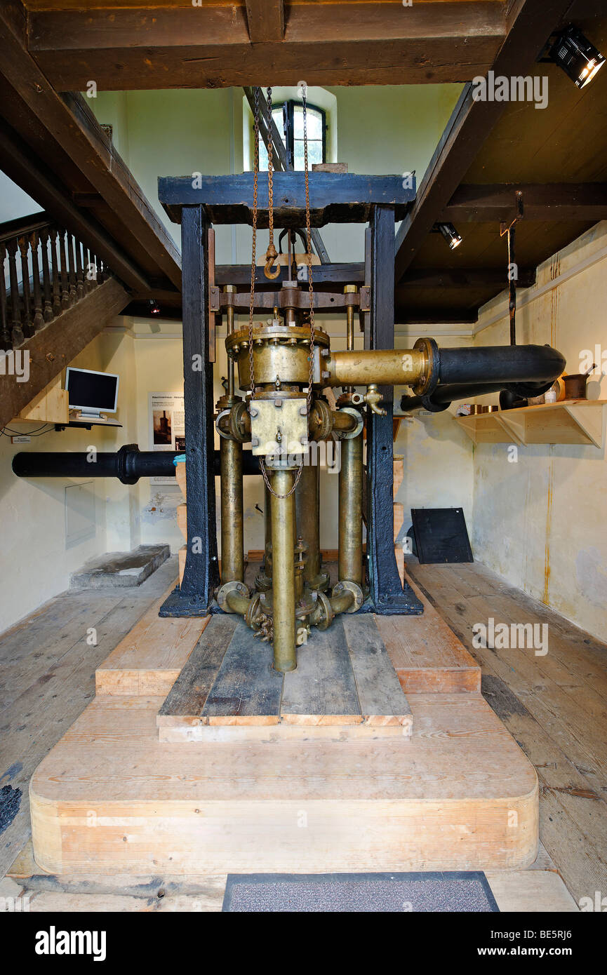 Pump by Georg von Reichenbach, built in 1806, pumping station Klaushaeusl of the historic brine pipe line near Grassau, - Stock Image