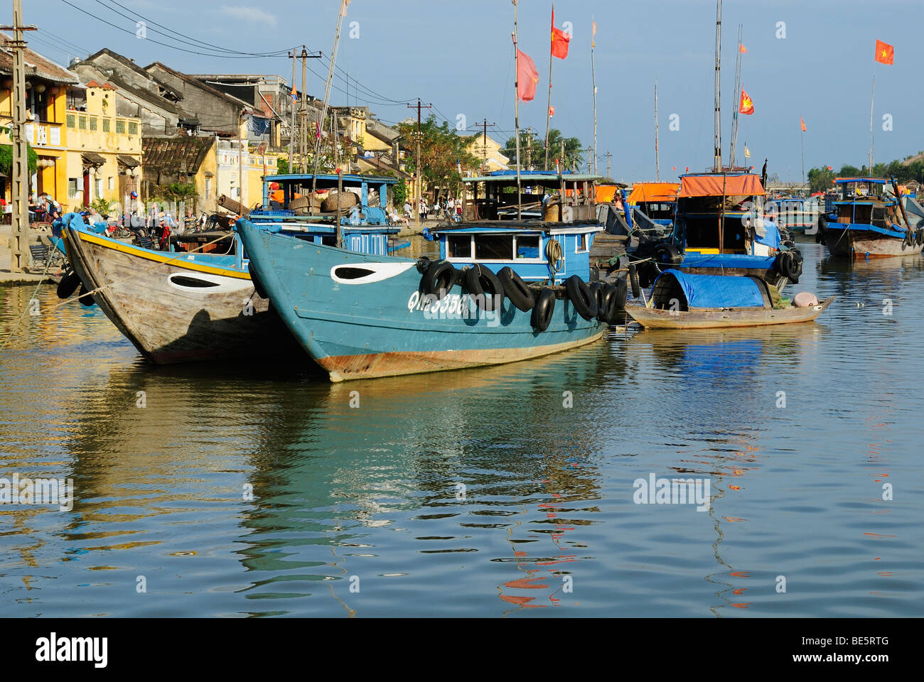 Fishing boats in the harbor of Hoi An, UNESCO World Heritage Site, Vietnam, Asia Stock Photo