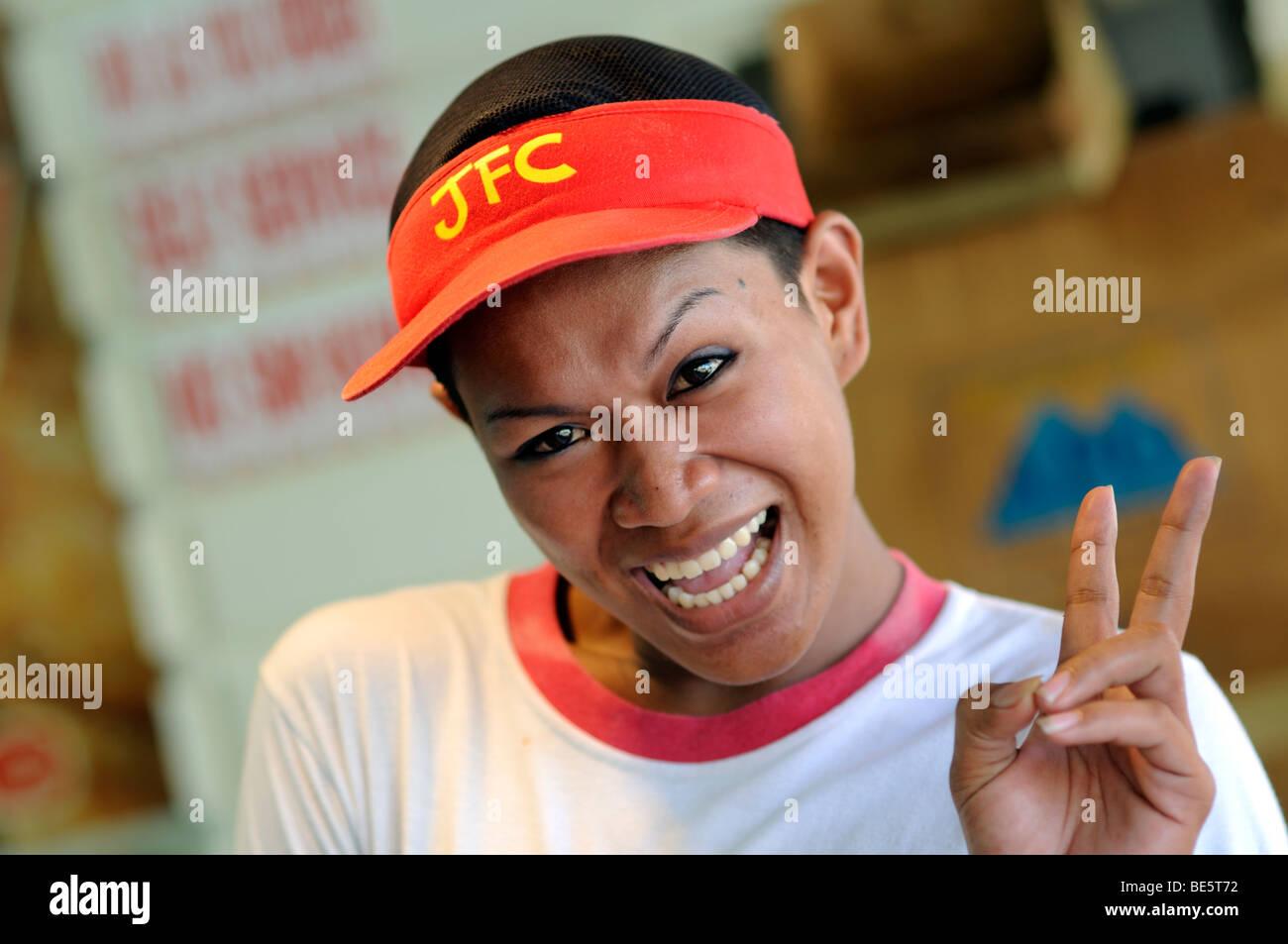 fast food worker davao city davao del norte mindanao philippines - Stock Image