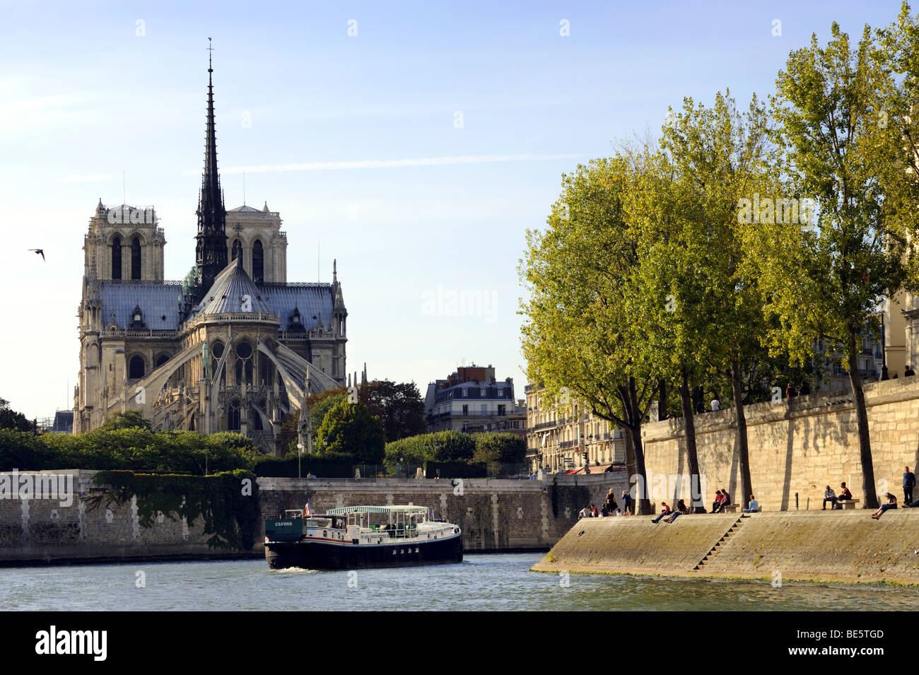 Notre Dame, Ile de la Cite, Ile St Louis and The River Seine, Paris, France - Stock Image