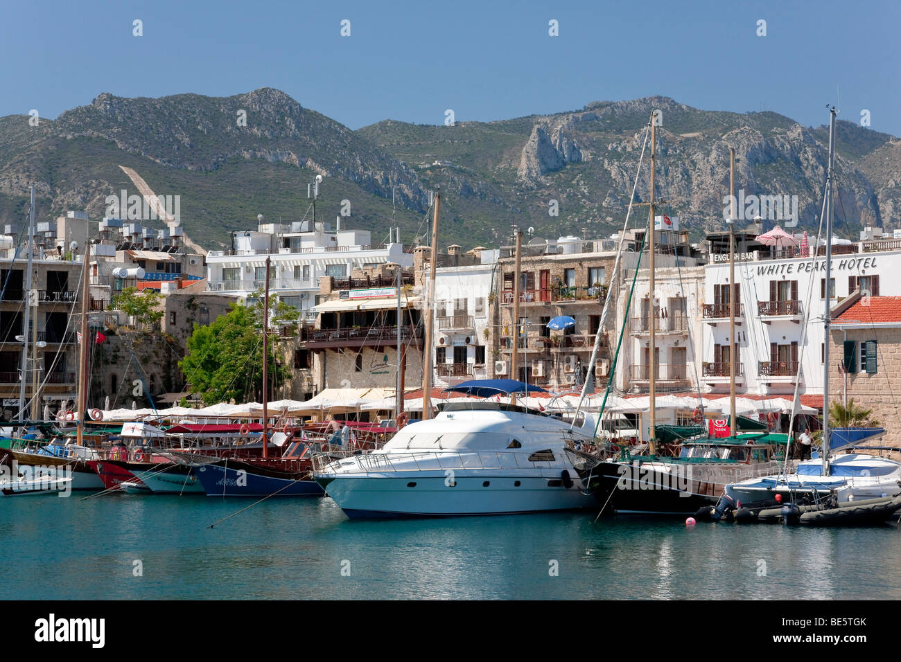 Boats in the port of Kyrenia, also known as Girne, Northern Cyprus, Cyprus, Europe Stock Photo