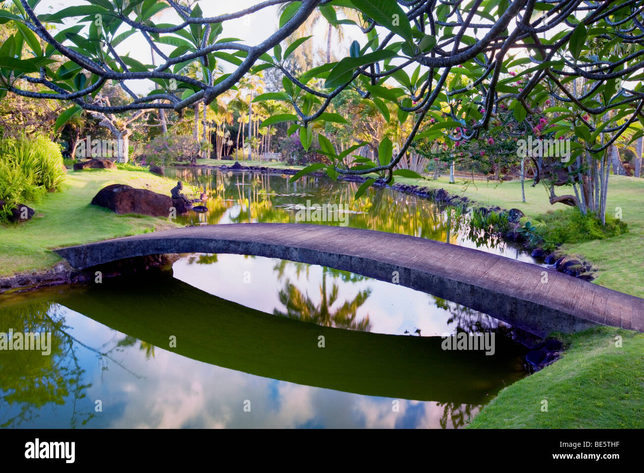 Bridge And Pond And Garden At Na Aina Kai Botanical Gardens Kauai Stock Photo 25944619 Alamy
