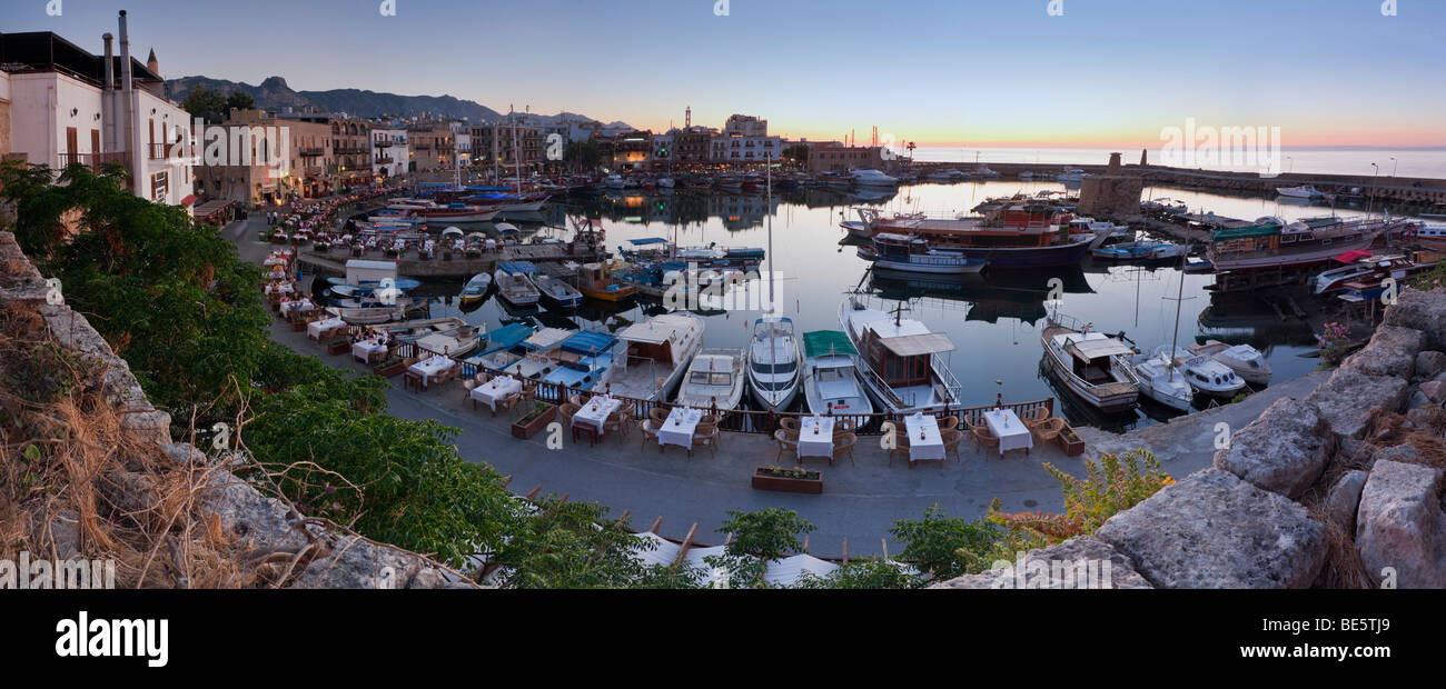 Evening mood at the port of Kyrenia, also known as Girne, Northern Cyprus, Cyprus, Turkish section, Southern Europe, Stock Photo