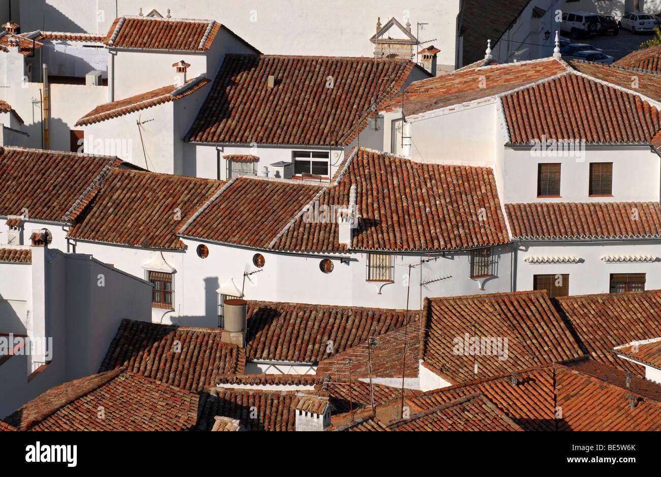 Roofs of the village of Grazalema, a Pueblo Blanco, white village, in the Sierra de Grazalema, Andalusia, Spain, - Stock Image