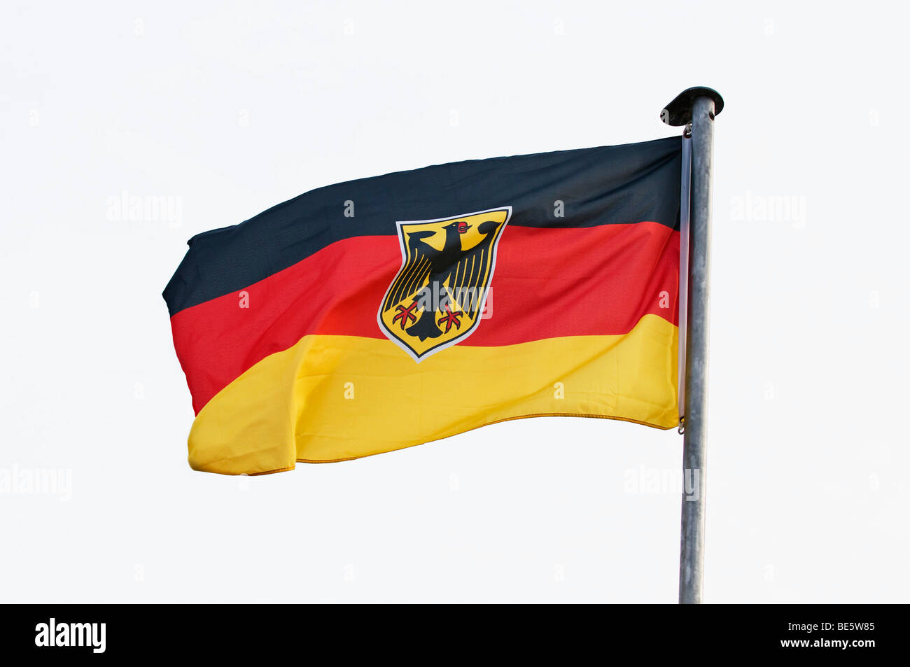Germany Flag, stretched out by the wind - Stock Image