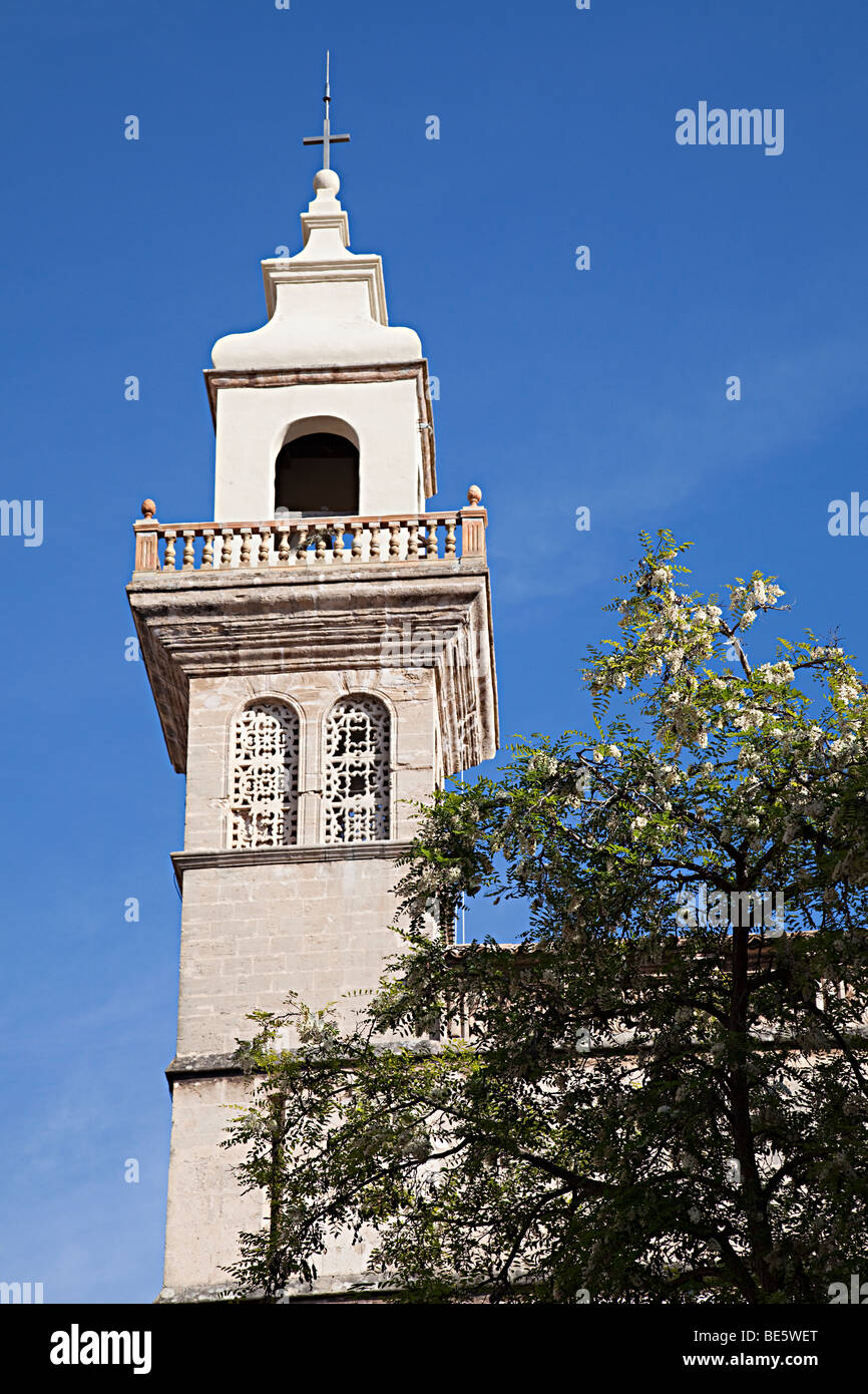 Chruch tower with carved stone grilles at Convent of Santa Clara Palma Mallorca Spain - Stock Image