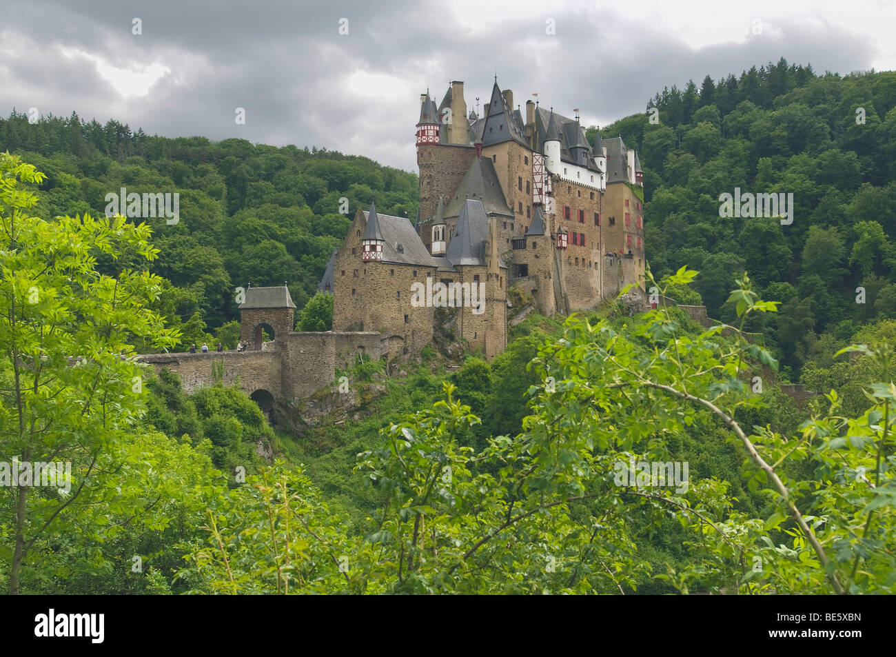 Eltz castle in stormy atmosphere, Wierschern, Rhineland-Palatinate, Germany, Europe - Stock Image