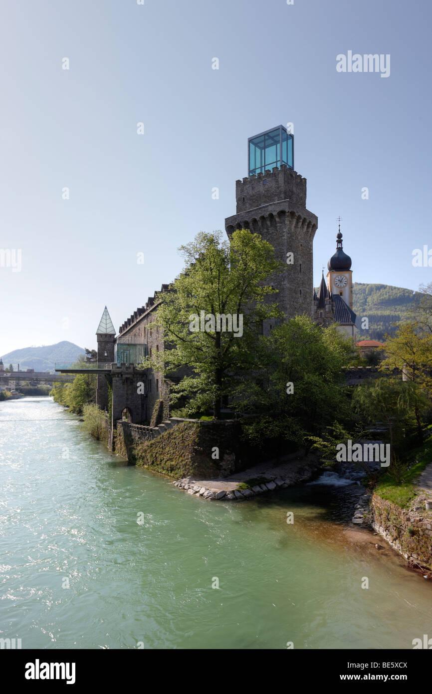 Donjon of Rothschild Castle, Waidhofen an der Ybbs, Mostviertel, Lower Austria, Austria, Europe - Stock Image