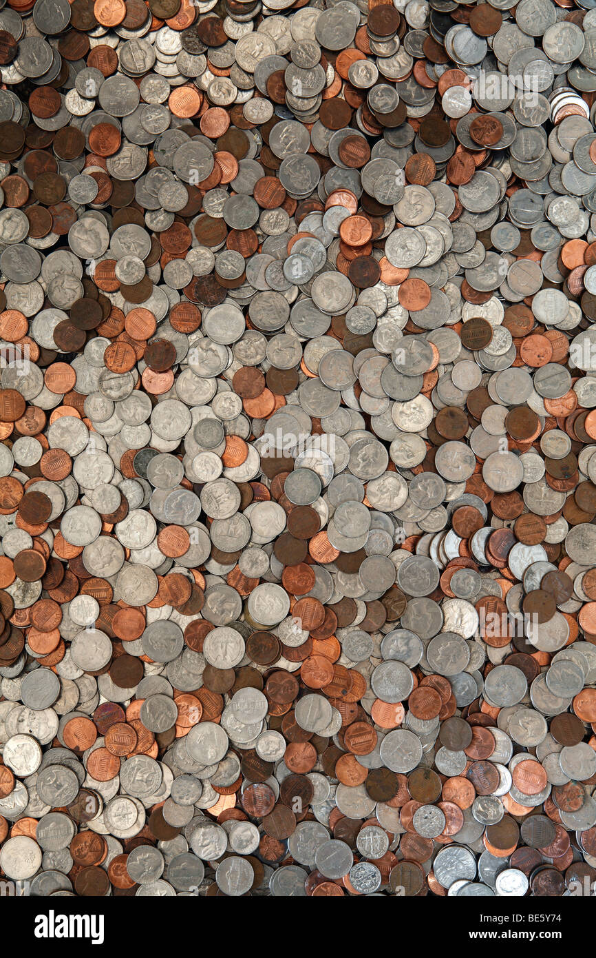 United State currency coins - Stock Image