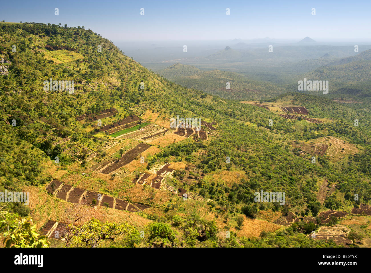 View across the Great Rift Valley from the slopes of Mount Elgon in Uganda. Stock Photo