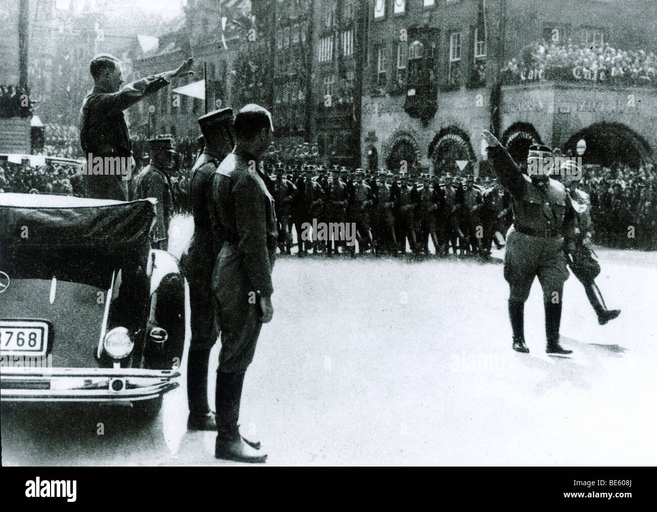 Parade in front of Adolf Hitler, Hermann Goering at the top of the SA, Nuremberg, Bavaria, German Reich, Europe, - Stock Image