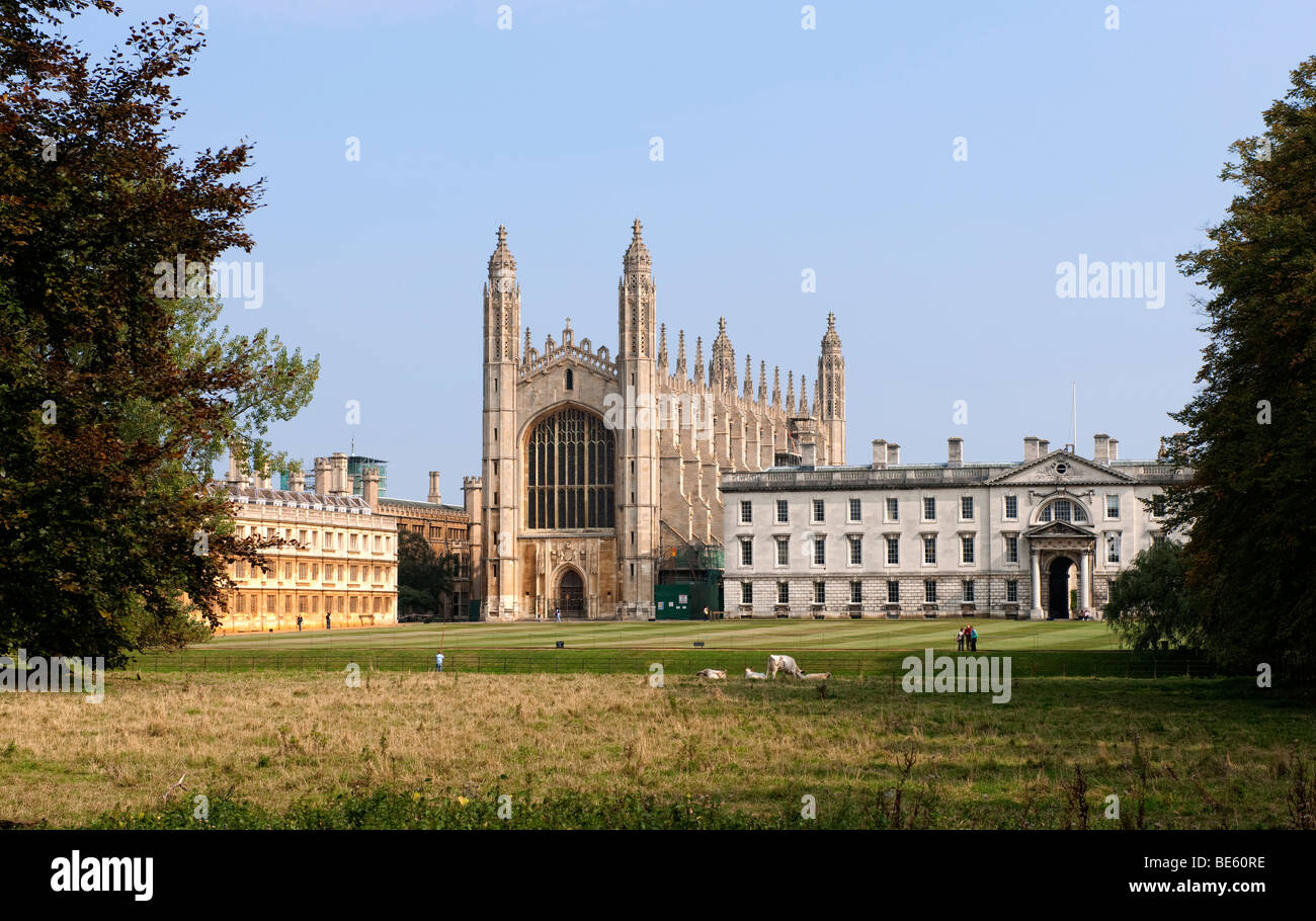 View from the River Cam across to King's College Chapel part of Cambridge University, Cambridge, England, UK - Stock Image