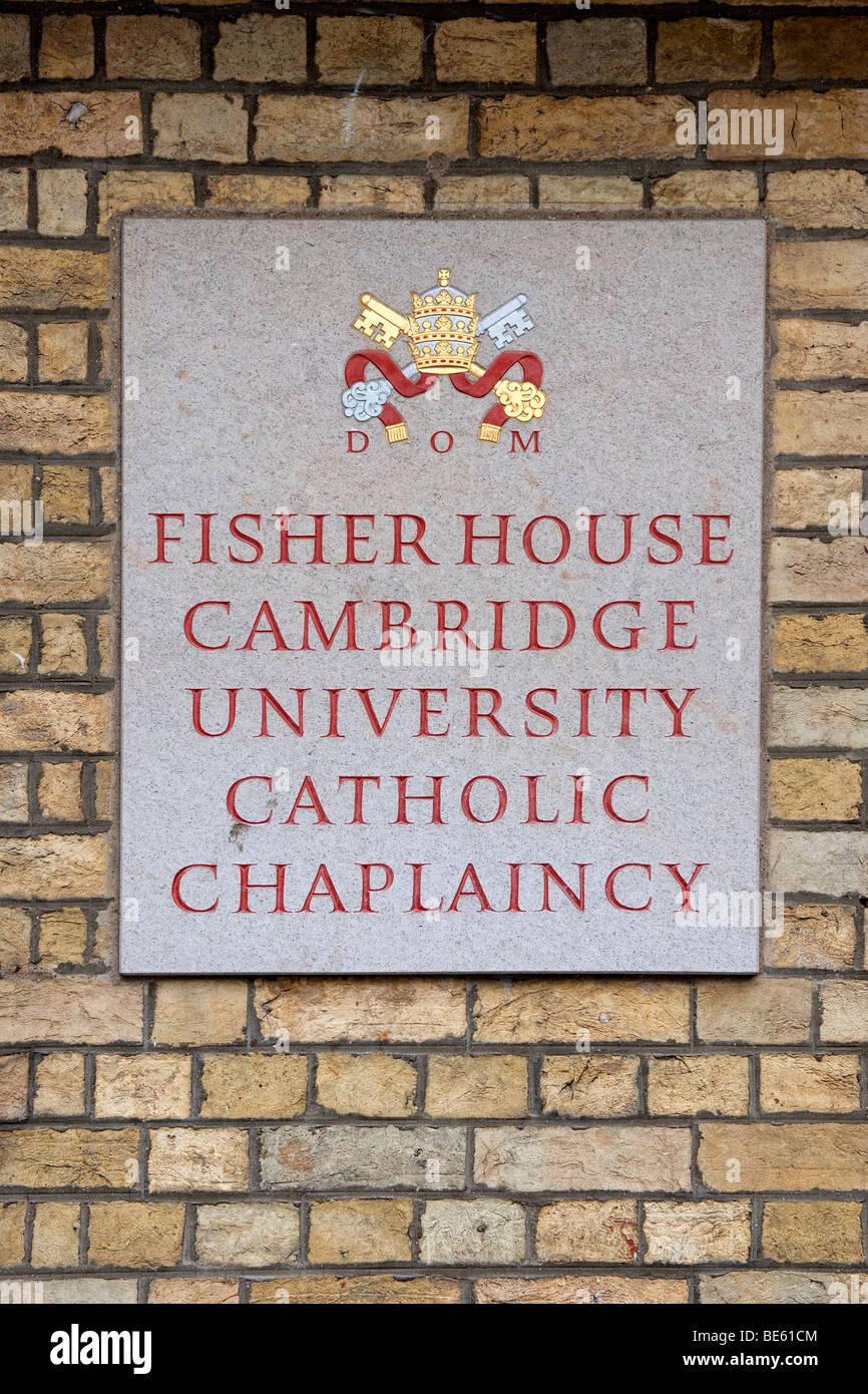 Sign to the Fisher House Cambridge University Catholic Chaplaincy - Stock Image