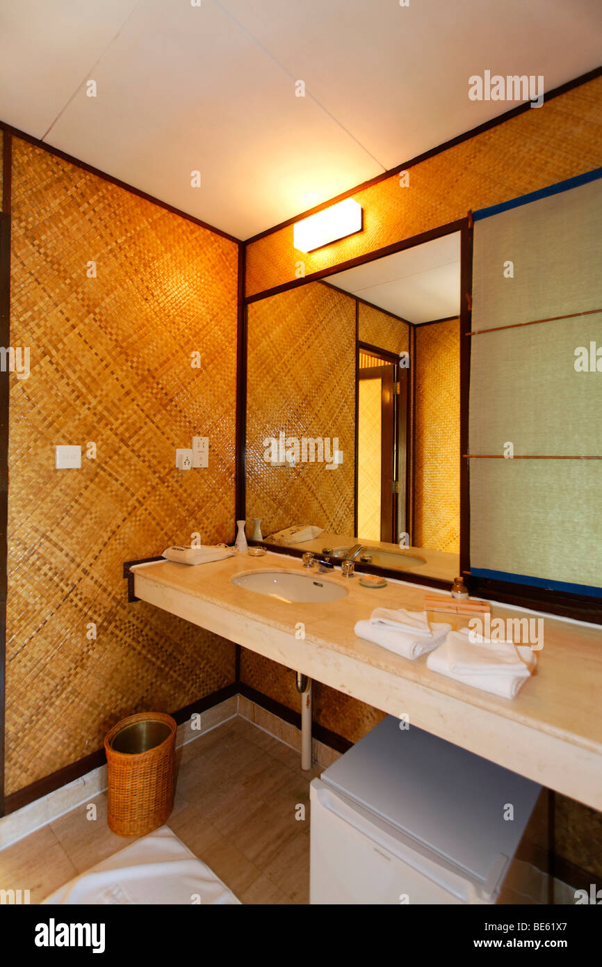 Water bungalow, interior, bath room, Vadoo, island, South Male Atoll, Maldives, archipelago, Indian Ocean, Asia Stock Photo
