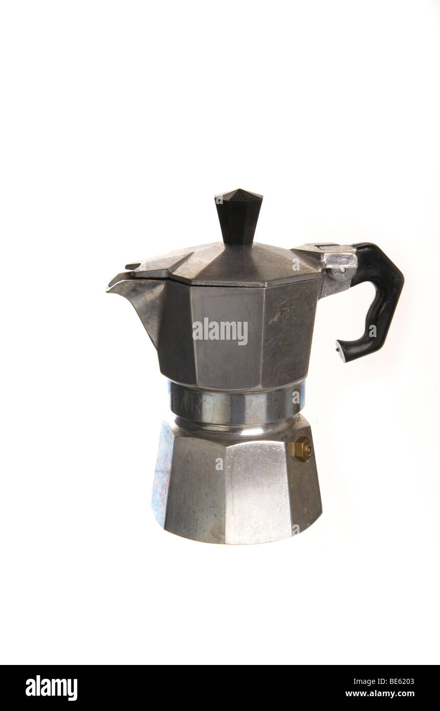 Traditional Italian espresso pot for the stove, made of aluminium - Stock Image