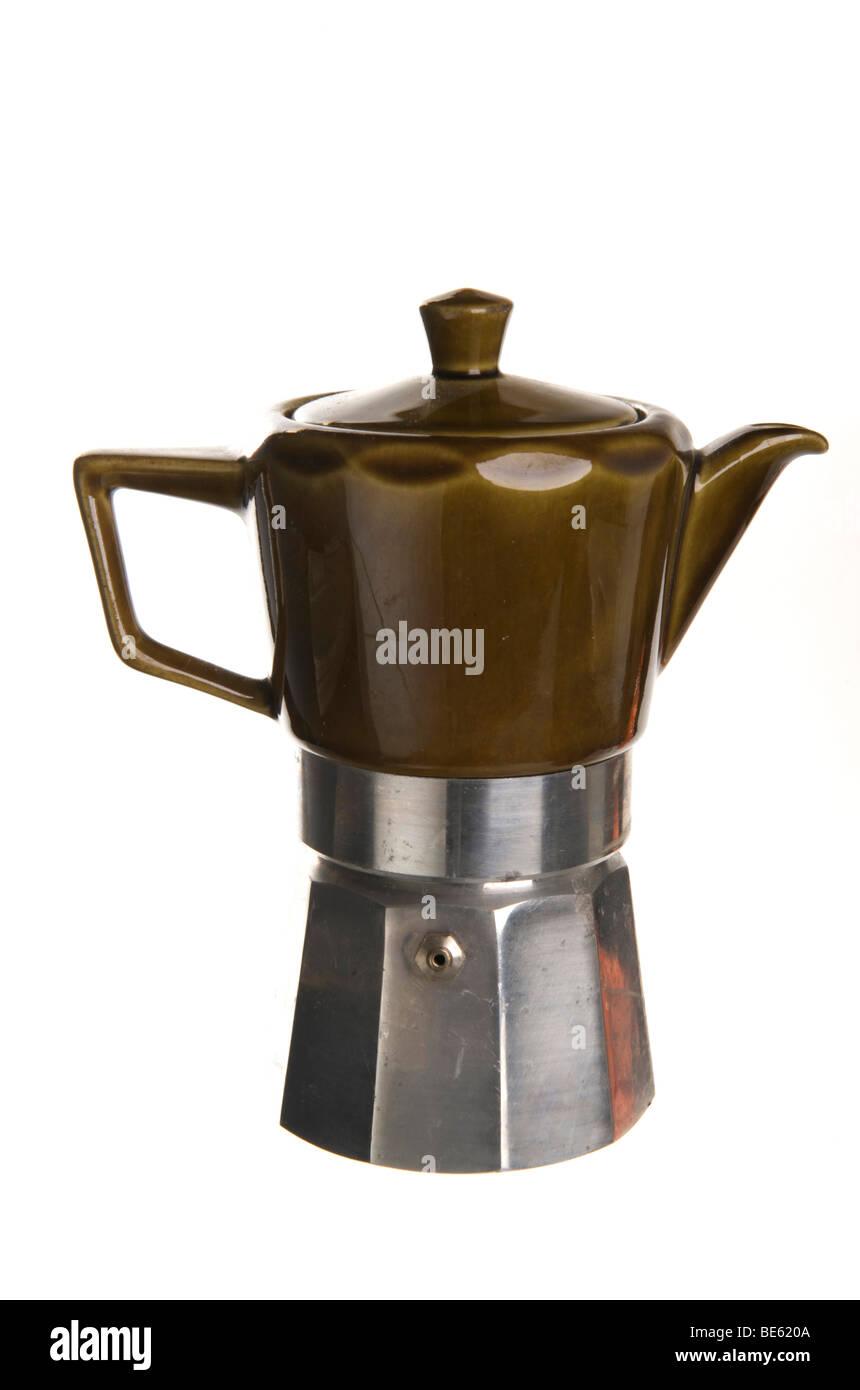 Old Italian espresso pot for the stove, aluminum and green ceramic - Stock Image