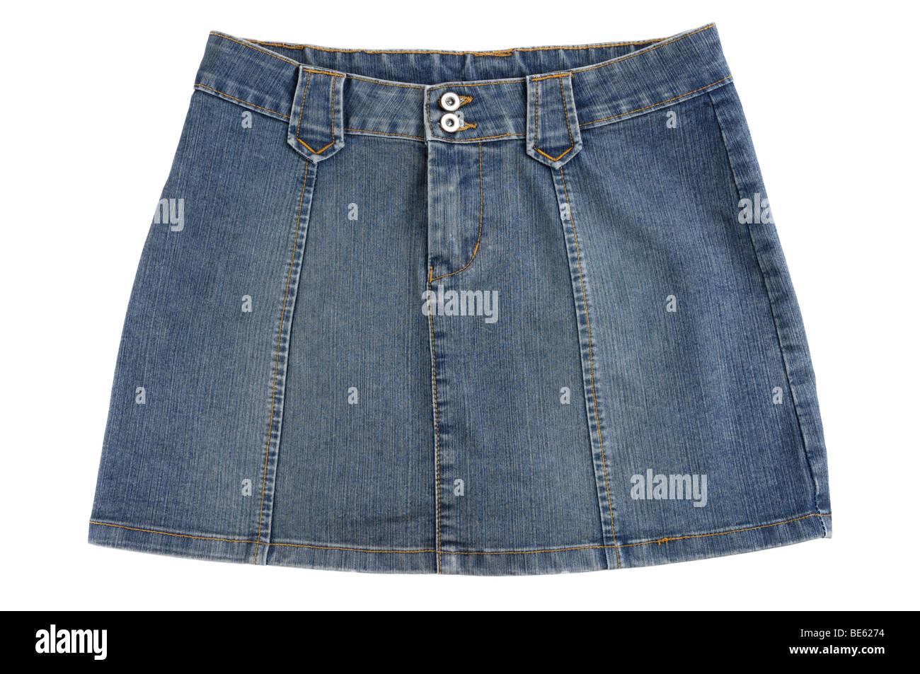 Blue jeans mini skirt - Stock Image
