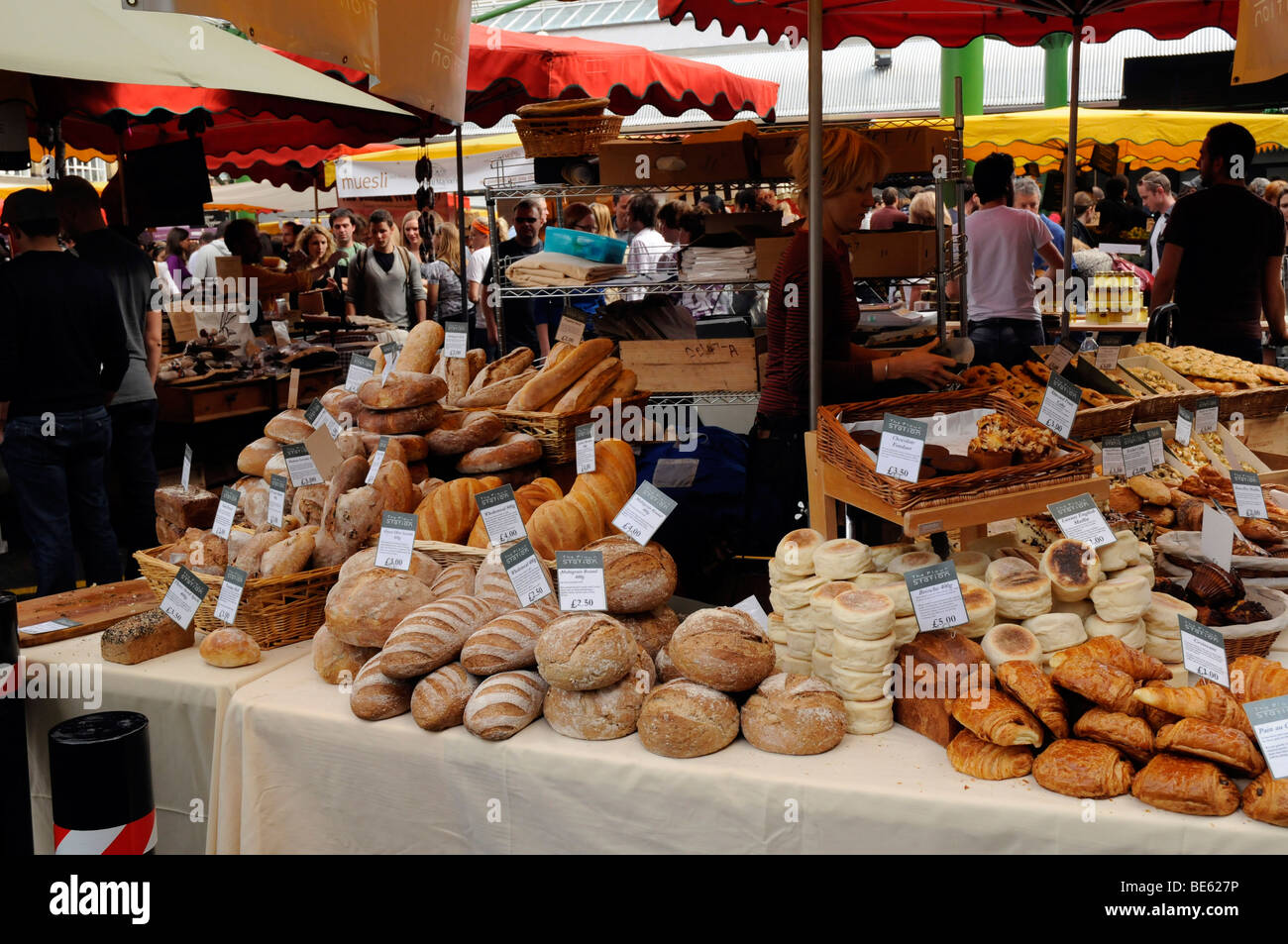 Bread stall in Jubilee Market, part of Southwark's  Borough Market, London SE1 - Stock Image