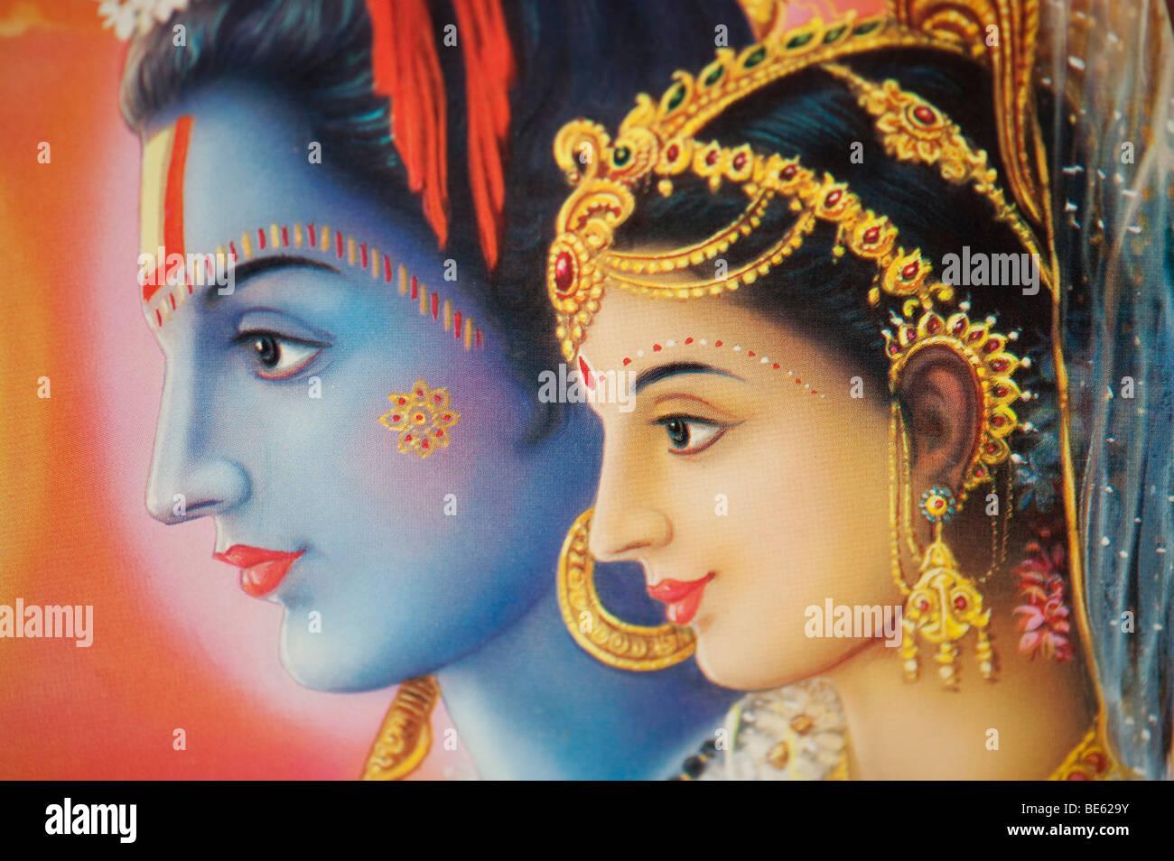 Hindu god lord rama and sita depicted on an indian poster india hindu god lord rama and sita depicted on an indian poster india freerunsca Choice Image