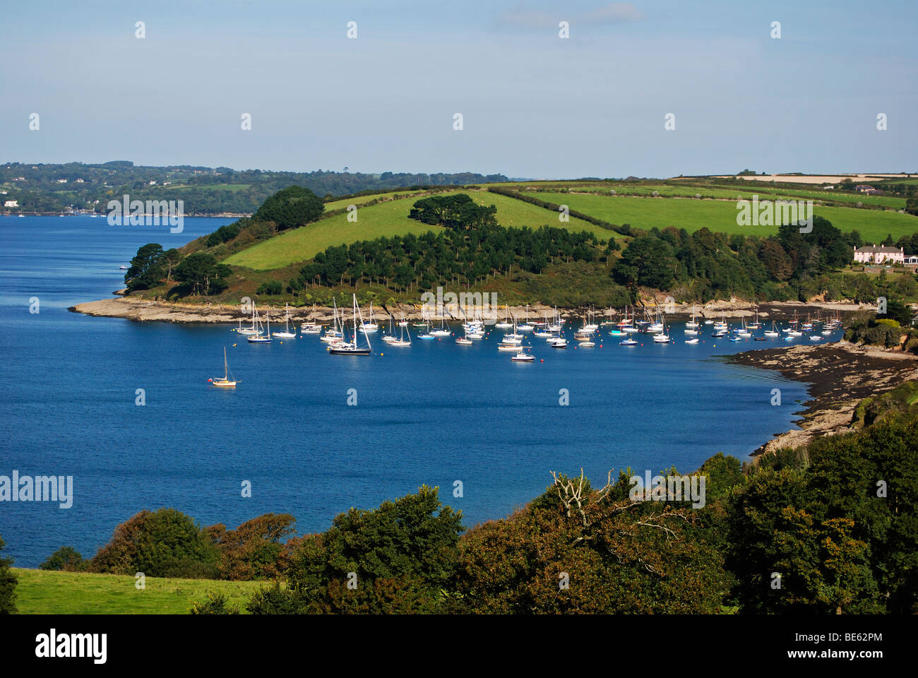 st.just in roseland creek on the river fal in cornwall, uk - Stock Image