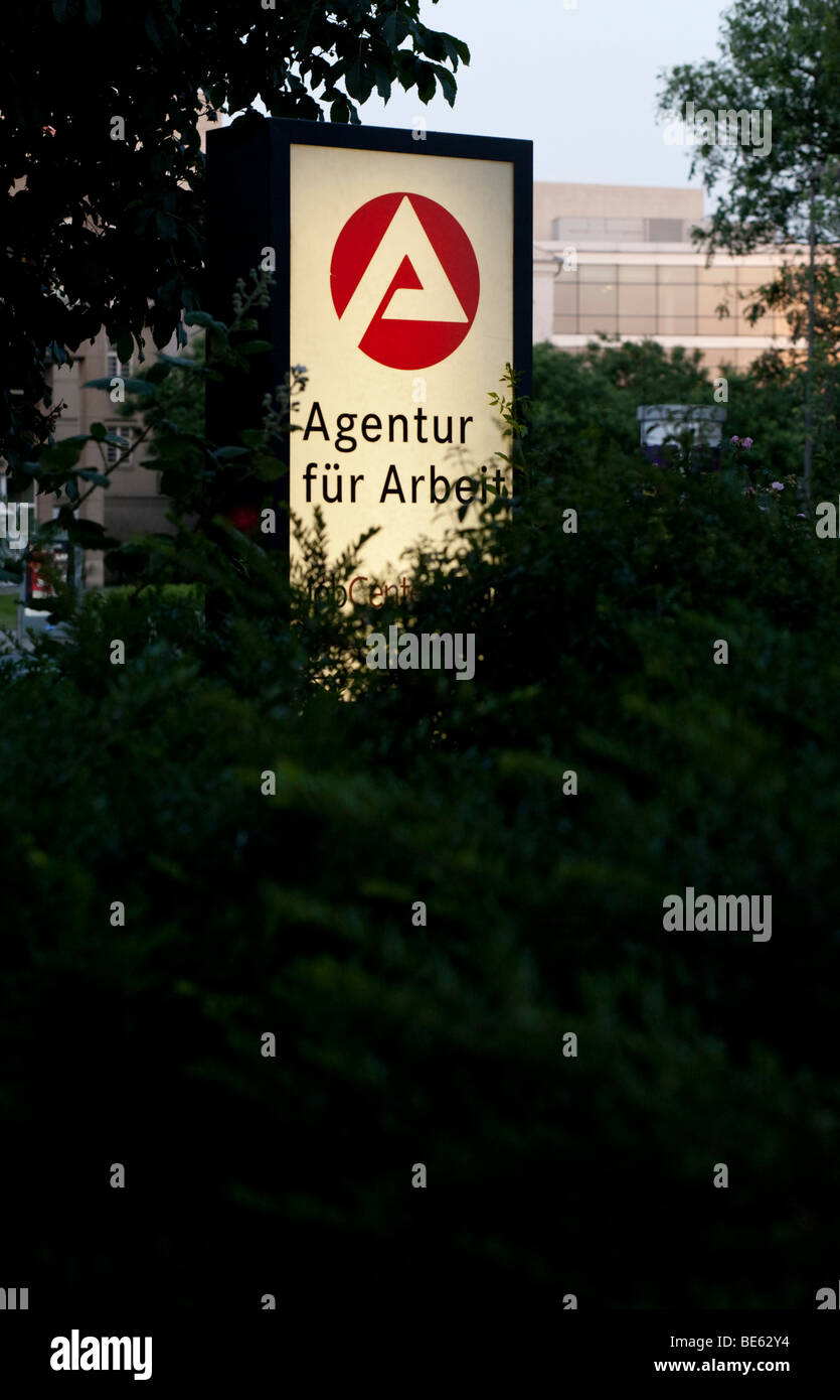 Agency for employment, illuminated sign - Stock Image