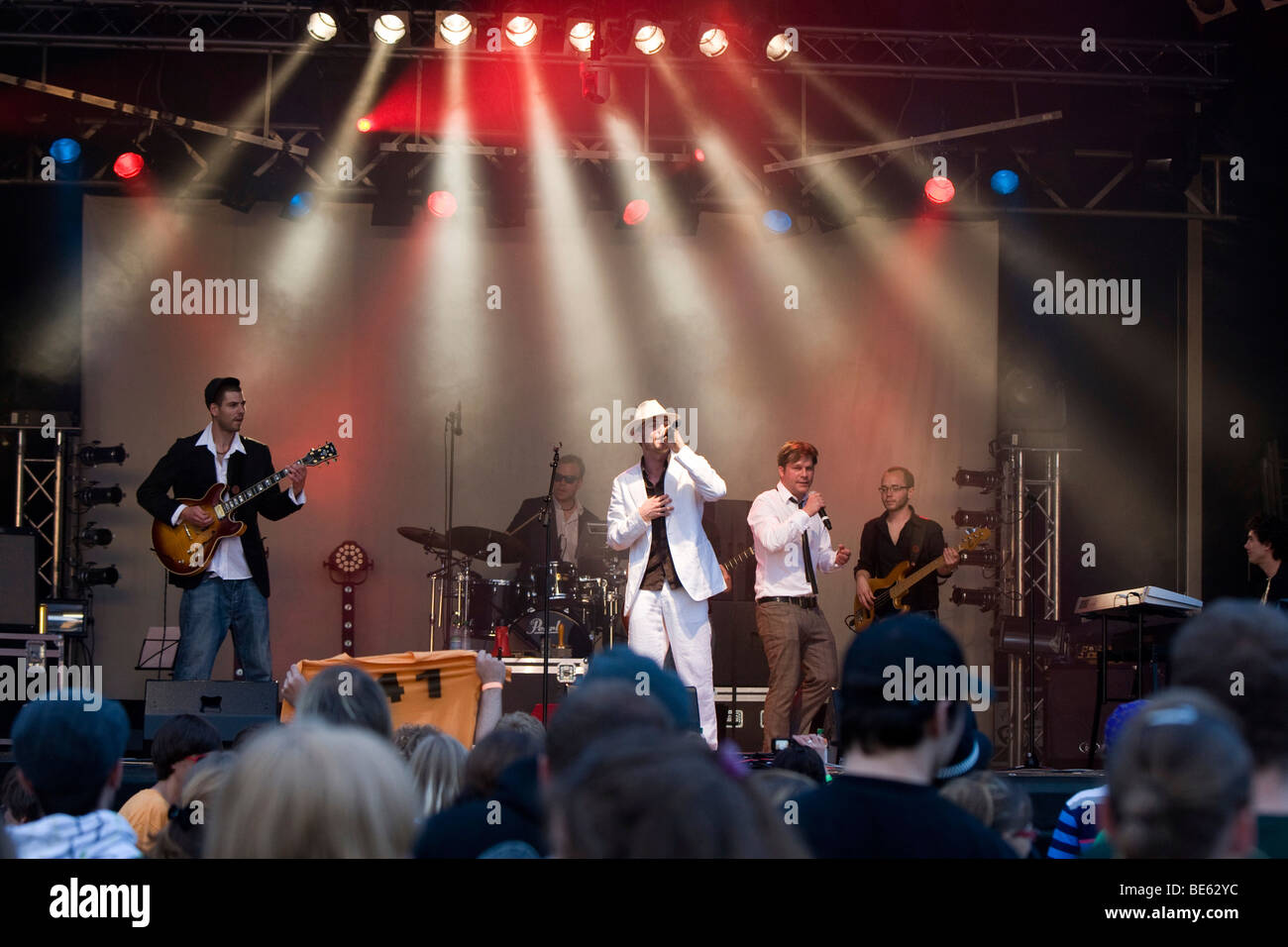 The Swiss rap and funk band Maenner am Meer live at soundcheck, Open Air festival in Sempach-Neuenkirch, Switzerland, - Stock Image