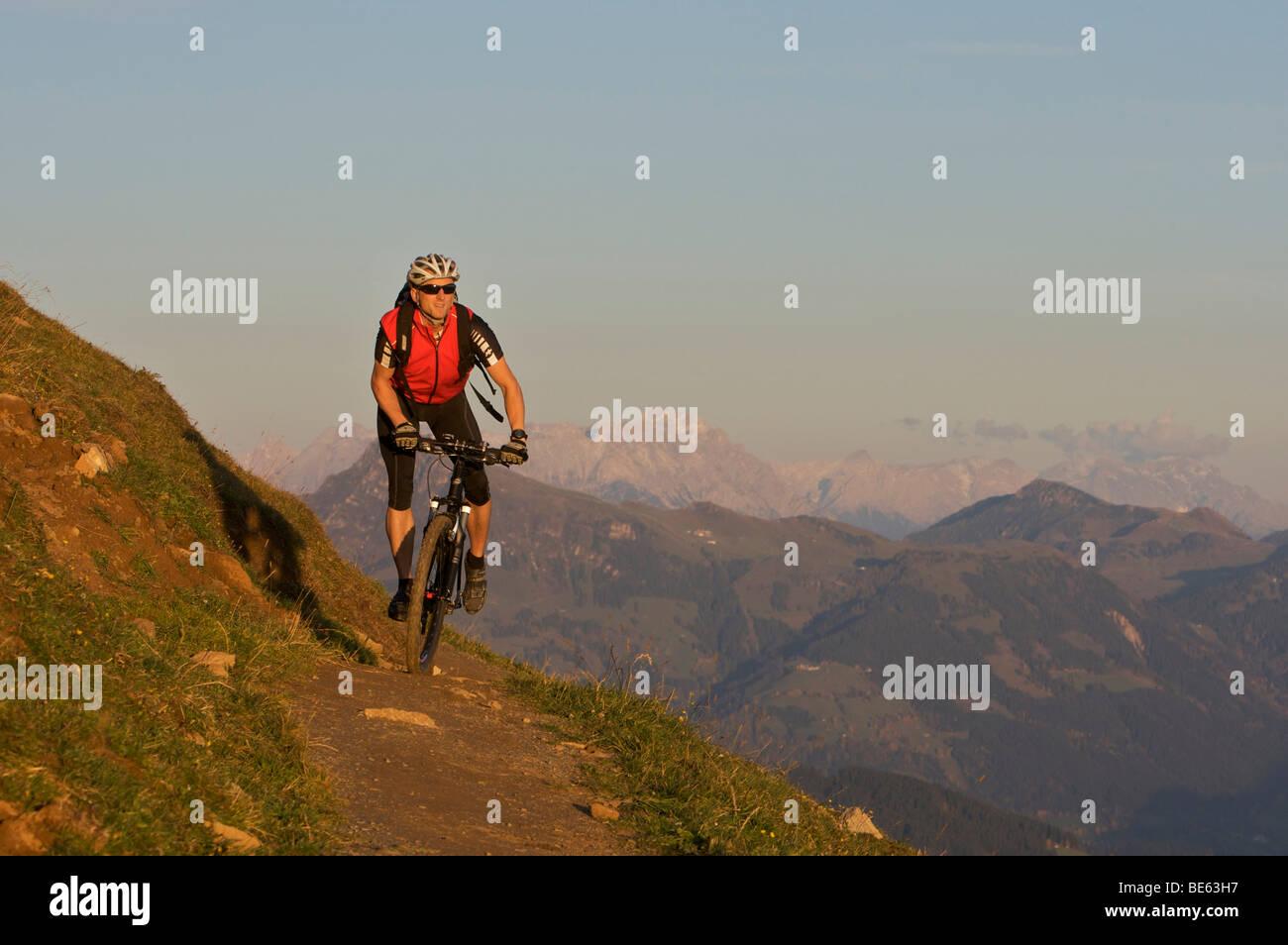 Mountainbiker at Hohe Salve mountain, Tyrol, Austria, Europe Stock Photo